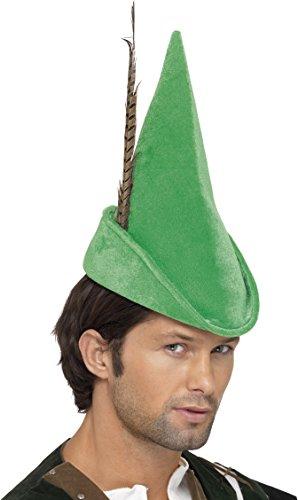 Robin Hood Mütze Grün mit Feder Deluxe, One (Ideen Robin Kostüm)