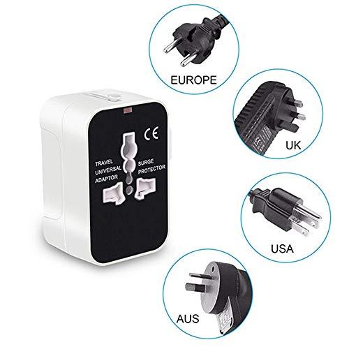 GYLFDC Reiseadapter, Universal Universal Conversion Stecker, USB Conversion Stecker, Geeignet für US EU UK AUS Handy Notebook (110V ~ 250V),White