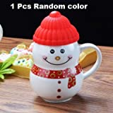 Satyam Kraft Ceramic Snow Man Mug with Silicon Lid, 300 ml (Multicolour)