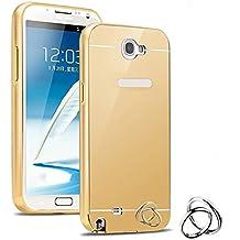 Semoss Lujo Bling Gliter Espejo Funda Aluminio Carcasa Diamante Case para Samsung Galaxy Note 2 N7100 Ultra Thin Mirror Efecto Metal Bumper Hardcase Shell Cover Oro