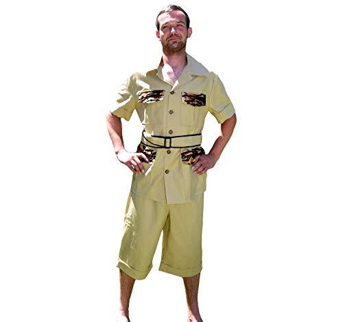 Unbekannt Herren Kostüm Safari Forscher Pierre Deluxe mit Tropenhelm Dschungel Karneval (54/56) -