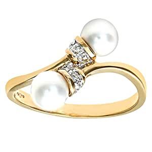 Naava Women's 9 ct Yellow Gold Diamond & Pearl Crossover Ring