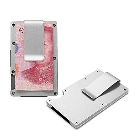 Etui Carte Bancaire Aluminium Pince a billet Metal Porte Carte Bancaire (Argente)