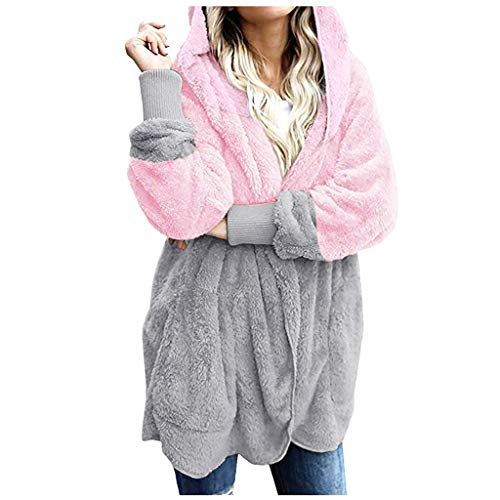 ZEELIY Kontrastfarbe Pulli Damen Hoodie Kapuzenpullover mit Kapuze und Farbe Spleißen Pullovern Casual Winter Fleece Langarm Oversize Sweatshirt Mantel Tops Mit Kapuze
