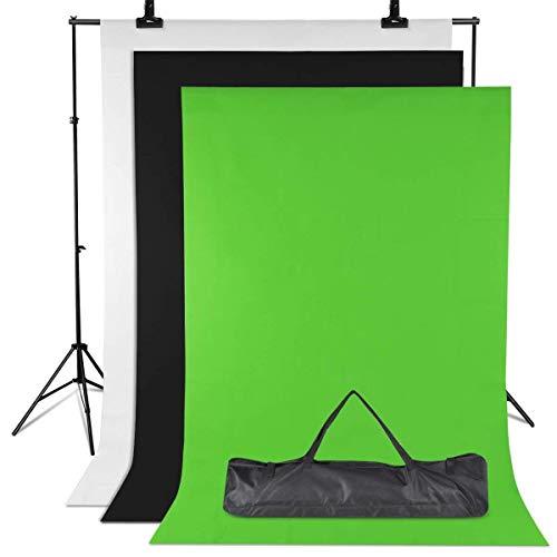 Amzdeal Hintergrund Ständer-Support-System 3m * 2m, 3pcs 2m × 1.6m Hintergründe Grünes/Weißes/Schwarzes Stativ Einstellbar von 65-200cm Hintergründe für Fotografie Portrait ObjektAufnahmevideo -