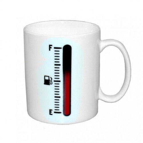 Tank Up Thermo Porzellan Tasse Kaffeetasse mit Füllstandsanzeige Tankup Kaffeebecher heiß/kalt