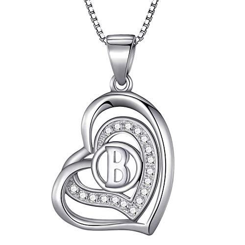 Morella® Damen Halskette Herz Buchstabe B 925 Silber rhodiniert mit Zirkoniasteinen weiß 46 cm