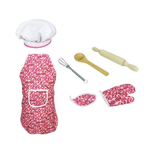 Toyvian Kinder Kochen und Backen Set, Chef Dress Up Kleidung und Werkzeuge für Mädchen ab 3 Jahren