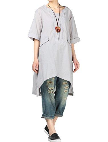 (Vogstyle Damen Sommer Casual T-Shirt Tops Bluse A-Linie Plus Größe Grau Shirts Grey 4X-Large)
