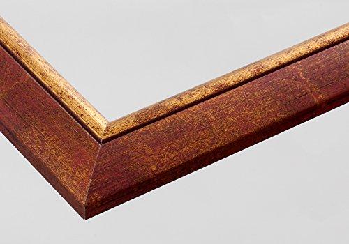 Vogel Design Holz-Bilderrahmen London - Braun Rot meliert mit Goldkante 48x36 cm 36x48 cm mit Antireflex-Plexiglas Sondermaße ohne Aufpreis