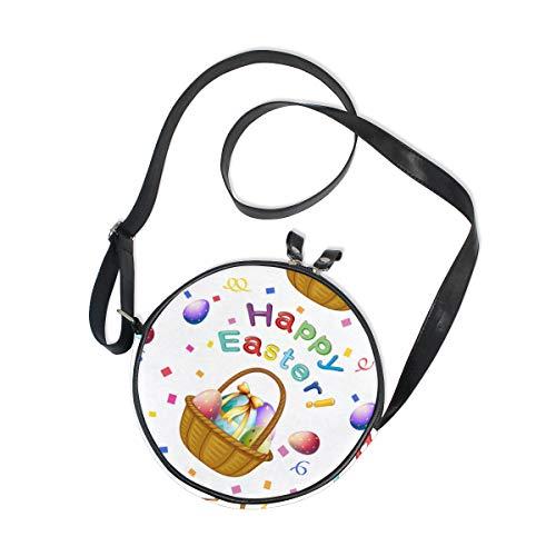 Emoya Damen Handtasche Happy Ostern bunte Eierkörbe Canvas Crossbody Tasche Kreis Geldbörse für Damen Mädchen