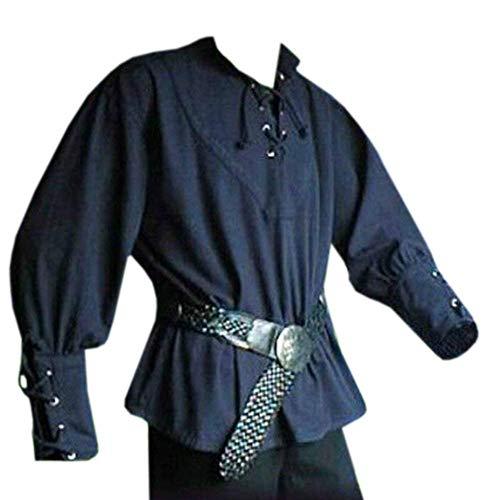 Gemijacka Herren Mittelalter Hemd Mit Schnürung Stehkragen Gothic Kleidung