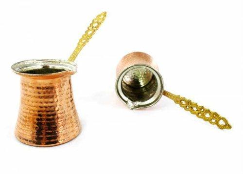 Von Hand gehämmert Kupfer Türkische Griechischen Arabische Kaffeekanne Mokkakanne/Wasserkocher jazzva Türkisches Kaffeekännchen Briki XS - 150cc - 5.1 oz - 1 demitasse cup kupfer - Demitasse Cup