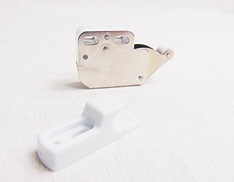 5 Stück - GedoTec® Federschnäpper Türschnapper Druckschnapper Mini Latch Stahl vernickelt | verstärkte und verbesserte Ausführung inkl. Gegenstück | Markenqualität für Ihren (Türdrücker Latch)
