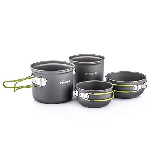 Overmont Portable 3-4 Person Outdoor Camping Hiking Picnic Aluminum Alloy Cookware Set
