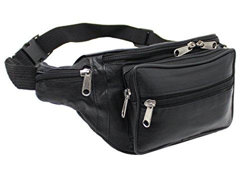 RAS Echtes Weiches Schwarzes Leder Extra Große Qualität Reise Taille Tasche Geld Tasche Verstellbarer Gürtel - 1006 (Designer-gürtel-taschen)