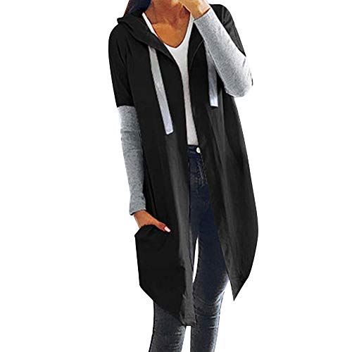 Wasserfall-front Cardigan (Vovotrade Damen Langarmshirt Strickjacke Kimono Cardigan Cover Up Patchwork Outwear Frauen Nähte Hooded Open Front Coat Lange Mantel Jacken Mantel Wasserfall Strickjacke)