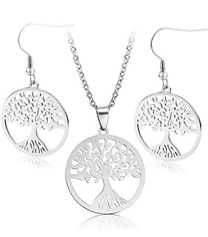 Jstyle Baum des Lebens Ohrstecker Stecker Halskette Lebensbaum Ohrschmuck Ohrringe Kette Anhänger für Damen - Vita Pendente Del Cerchio