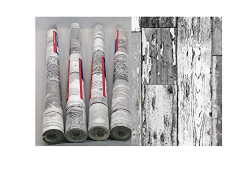 i.stHOME Kebefolie 4er Set - Möbelfolie Holz dunkelgrau - Dekorfolie je Rolle 45 x 200 cm - Selbstklebefolie Vintage - Selbstklebende Folie für Möbel