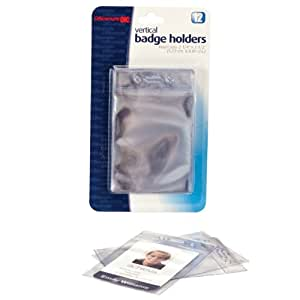 Officemate ID Badge Holders, Vertical 2.25 x 3.5 Inches Insert, Pack of 12, Clear(37004)