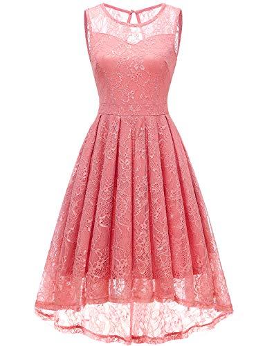 Gardenwed Damen Kleid Retro Ärmellos Kurz Brautjungfern Kleid Spitzenkleid Abendkleider CocktailKleid Partykleid Coral M