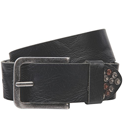 Lindenmann The Art of Belt Womens leather belt/Mens leather belt, full grain leather belt with rivets, Unisex, black