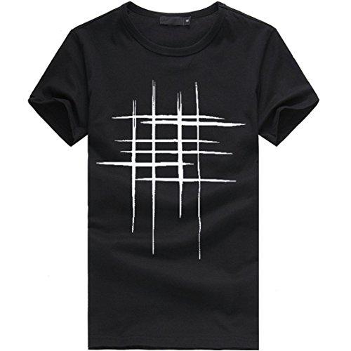 T-Shirts,Honestyi 2018 Klassisches Marine Streifen Basic T-Shirt Print Shirt Basic Crew Neck Tall & Slim Kurzarmshirt Sweatshirt Weste Tops, weich und luftig,Große Größe S-XXL (XXL, Schwarz)