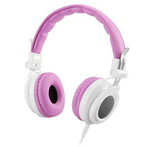 Auriculares de Diadema para Niños con Cable 3.5mm Jack, AGPTEK Cascos Cierrados Ligeros y Ajustable con Volumen Limitado de 85dB, Ideal Regalo para Niños de 6-12 Años, Color Rosa