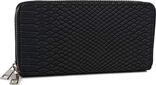 styleBREAKER Damen Geldbörse in Krokodilleder Optik, 2 umlaufende Reißverschlüsse, Portemonnaie 02040126, Farbe:Schwarz