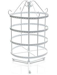 Grinscard - Soporte de joyería de diseño giratorio Organizador de joyería Soporte de cadena titular - Blanco - 35 x 23 cm