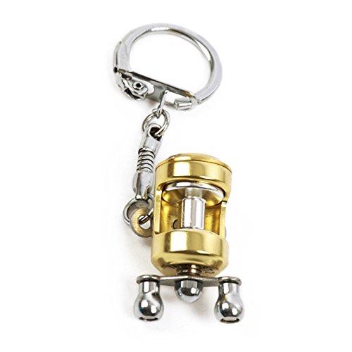 elegantstunning Creative Miniatur Schleppen Spule Drum Rad Form Schlüsselanhänger Angeln Rad Anhänger Angler Geschenk