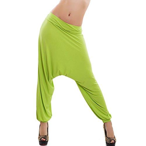 Toocool - Pantaloni donna harem turca sarouel cavallo basso danza yoga ballo nuovi CC-8177 Verde acido