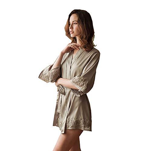 Twnhmj Erotische Unterwäsche Sexy Damen Halber Ärmel Satin Nachtwäsche Manschette Spitze Mode Nachthemd,Gray,L -