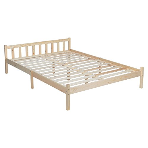 GreenForest Double Wooden Bed Frame Double Size Pine Color