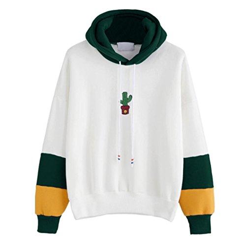 WOCACHI Damen Kapuzenpullover Mode Frauen Langarm Kaktus gedruckt Patchwork Loose Hoodie Sweatshirt Weiß Tops Bluse (S/34, (Kostüme Mode Sexy Polizei)