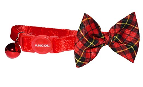 Velvet Cat Collar with Bow Tie, Snap Clip and Bell, Royal Red