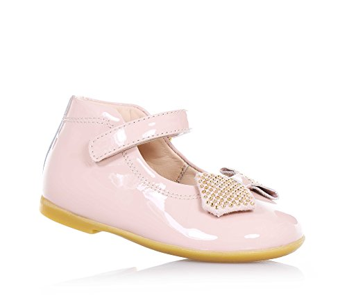 FLORENS - Ballerina rosa, in vernice, con chiusura a strappo laterale, applicazione di fiocco con strass sulla parte frontale, cuciture a vista, Bambina, Ragazza-23