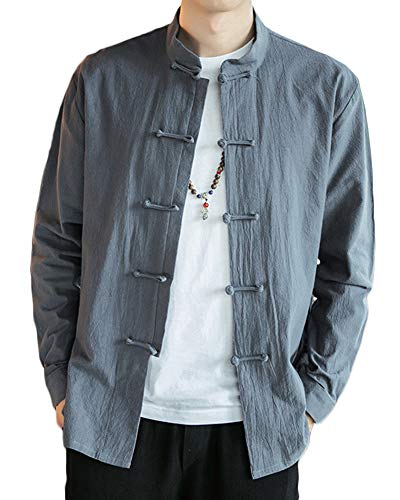 Herren Retro Chinesischen Stil Hemden Mantel Baumwoll-Leinen-Mischung Stehkragen Jacke Tang Anzug Grau M -