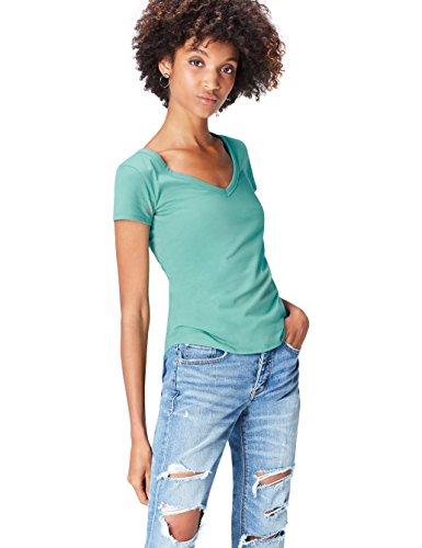 Marine-lounge-sitze (Activewear T-Shirt Damen Slim Fit mit V-Ausschnitt, Blau, 38 (Herstellergröße: Medium))