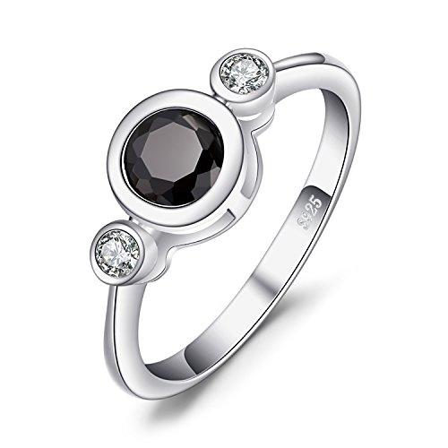 JewelryPalace Succinct 1.3ct Vert Noir Spinelle de Synthèse Cadre de Lunette 3 Pierre Bagues en argent sterling 925