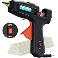Hot Glue Gun, TOPELEK 60/100W Dual Power High Temp Heavy Duty Professional Hot Melt Glue Gun with Glue Sticks (12pcs,11mm) for DIY Arts & Crafts, Hobby, Wood, Fabric, Decorations/Gifts Use, Quick Repairs, Black