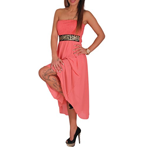 Sexy Chiffon Bandeau Kleid Vokuhila Strass Spitze Cocktailkleid Partykleid Neu Modell 2 Apricot