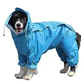 TFENG Hunde Regenmantel mit Abnehmbarem Hoodie, Verstellbarer Outdoor-Tunnelzug Hundemantel, Wasserdichte Hundejacke Regenjacke mit Kapuze und Kragenloch, 10 Größen (Blau)
