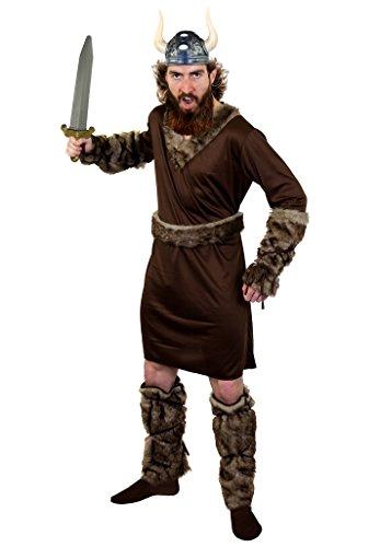 ILOVEFANCYDRESS SUPER Wikinger /Vikings KOSTÜM DER Ragnar KLASSE=MIT UND OHNE ZUBEHÖR=Tunika+GÜRTEL+ARMBINDEN+Fell IMITAT Stulpen=MIT Schwert+Helm-XLarge (Halloween Männer Viking Kostüme)