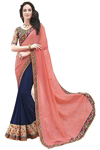 Arawins Peach Blue Georgette Sarees For Women Party Wear New Collections Low...