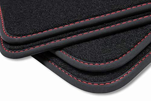 teileplus24 V377 Velours Fußmatten, passgenaue Fertigung, Trittschutz auf der Fahrer Fußmatte, Nubuk Bandeinfassung, Ziernähte, Naht:Rot