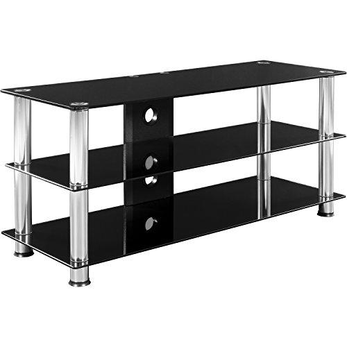 STILISTA TV Rack Fernsehtisch Glas Tisch in Schwarzglas-Optik, 110 x 50 x 40 cm, 8mm Sicherheitsglas -