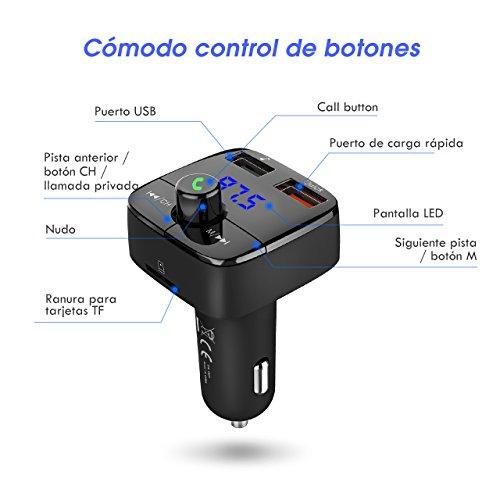 VicTsing Transmisor FM Bluetooth(V4.2) Coche con Carga Rápida 3.0 Inalámbrico Manos Libres Cargador de Coche Adaptador de Radio Dual USB Soporte de Tarjeta TF+U Disk para Móviles Tablet etc