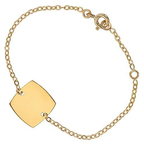 Orleo - REF10981BB : Bracelet identité Enfant Or 18K jaune - 14 cm - Fabriqué en France