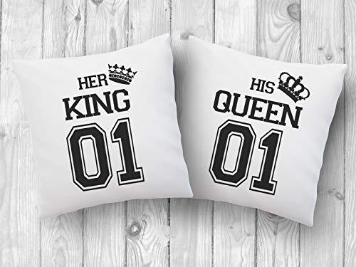 2er Set Kissen mit Druck King & Queen Kissenbezüge -